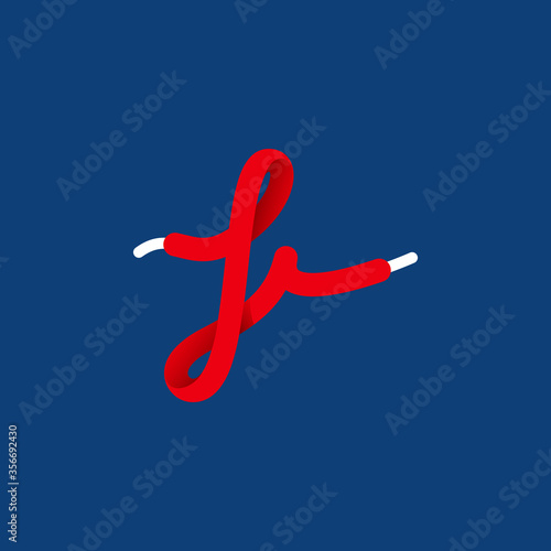 Letter I sport logo formed by shoe lace. Wallpaper Mural