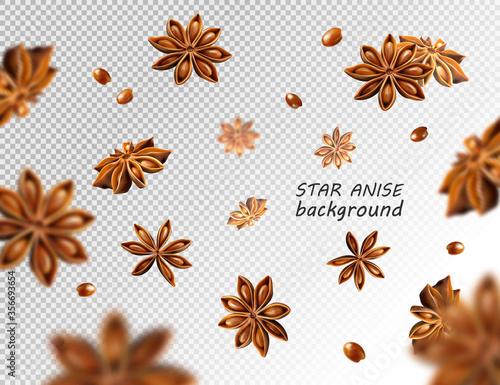 Fototapeta Falling star anise background. Flying star aniseed on a white backdrop. obraz
