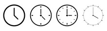 Clock Icons In Line Style Set ...