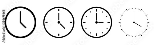 Obraz Clock icons in line style set isolated on white background. Time icon. Vector  - fototapety do salonu