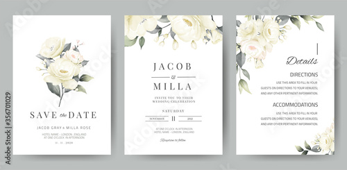 Obraz na płótnie wedding invitation card template set with white rose bouquet watercolor painting