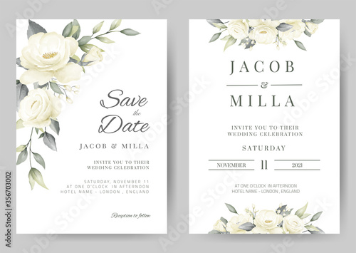 Fotografía wedding invitation card template set with white rose bouquet watercolor painting