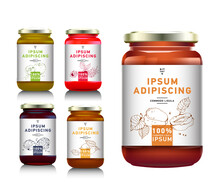Glass Jar With With Jam, Configure Or Honey. Vector Illustration. Packaging Collection. Label For Jam. Bank Realistic With Design Tag. Mock Up Mason Jar With Design Label Or Badges. Fruit Jelly.