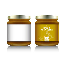 Glass Jar With With Jam, Configure Or Honey. Vector Illustration. Packaging Collection. Label For Jam. Bank Realistic. Mock Up Mason Jar.