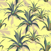 Wild Cactuses In Ground. Tropical Succulents. Spiny Plants. Peyote. Vector Seamless Pattern With Agave And Mountains.