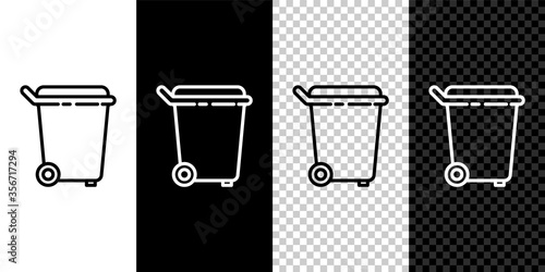 Photo Set line Trash can icon isolated on black and white background