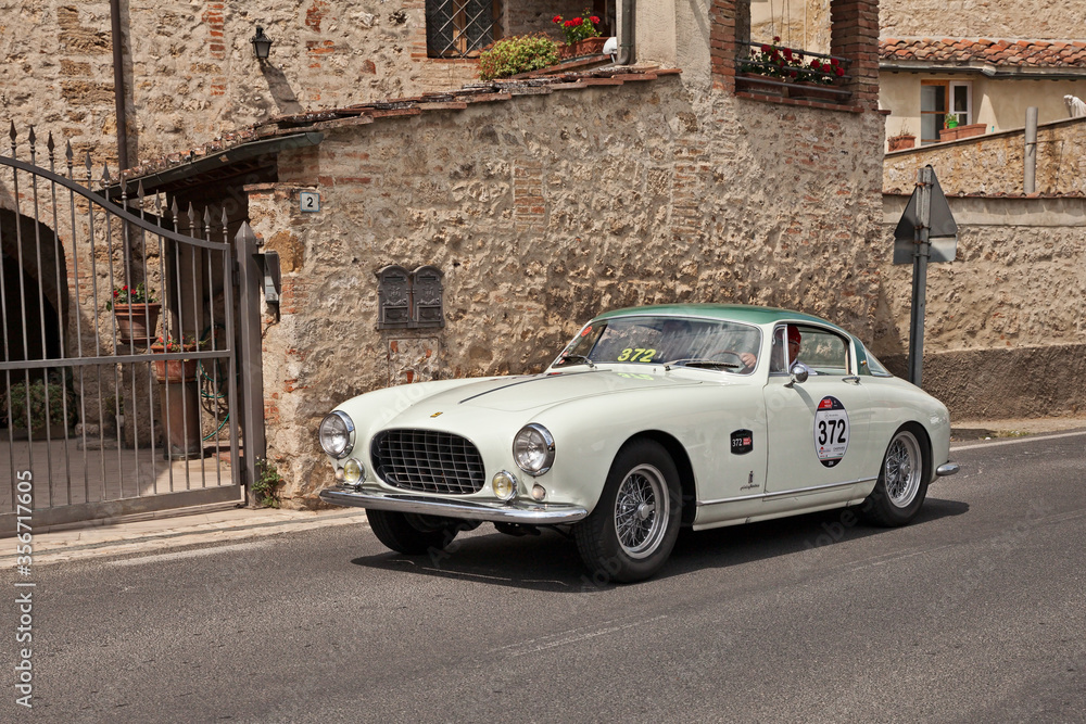 Ferrari 250 GT Europa (1955) in classic car race Mille Miglia, on May 17, 2014 in Colle di Val d'Elsa, Tuscany, Italy