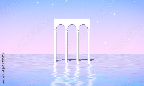 Aesthetic landscape with colonnade of white pillars in surreal sea Fotobehang