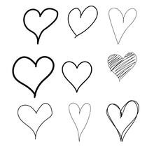 Set Of Nine Hand Drawn Heart. ...