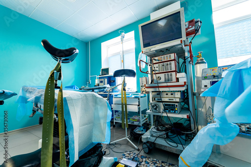 Modern operating room with advanced equipment, special medical devices, hospital room interior Canvas Print