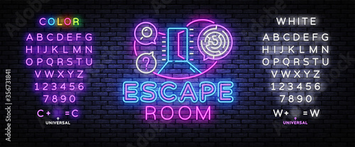 Real-life room escape neon sign vector Canvas Print