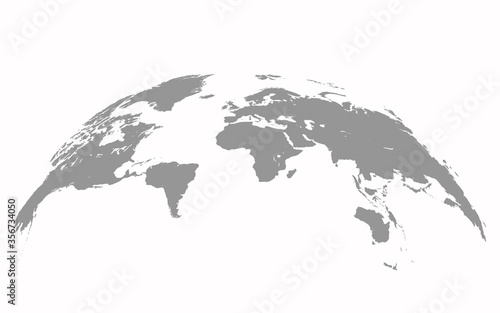 Fotografie, Obraz Map world Curved shape Gray vector