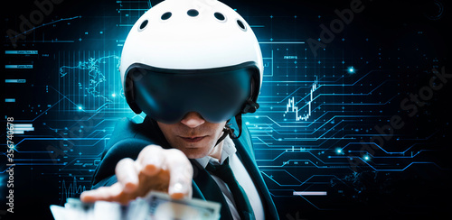 Portrait of a businessman in a suit and aviator helmet Canvas Print
