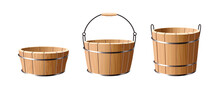 Wooden Bucket. Vector Illustra...