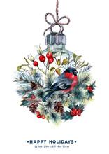 Watercolor Christmas Ball Card