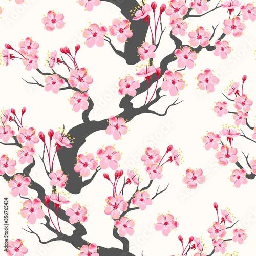 Tapety Japońskie  wektor-wzor-z-galezi-rozowy-sakura