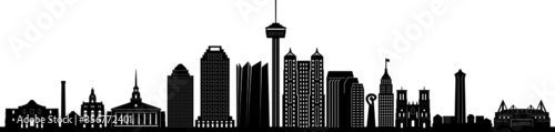 Fototapeta SAN ANTONIO City Texas Skyline Silhouette Cityscape Vector obraz