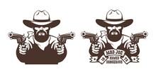 Bearded Cowboy Wild West Gunfighter Tattoo. Western Bandit With Guns - Vintage Vector Illustration.
