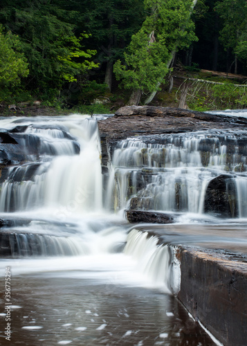 Waterfall over rocks, Manido Falls, Michigan