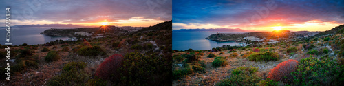 Fotografie, Obraz Before and after example of photo editing process, color correction,brightness and saturation of generic long exposure landscape at sunset