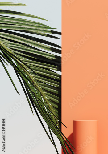 Minimal cosmetic background for product presentation. Cosmetic bottle podium and green palm leaf on coral color background. 3d render illustration. Object isolate clipping path included. Wall mural