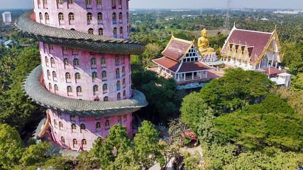 BANGKOK, THAILAND - DECEMBER 15, 2019: Amazing aerial view of Wat Samphran on a sunny morning