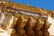 Artificial Baroque Stone Balcony In Unesco World Heritage Noto In Sicily