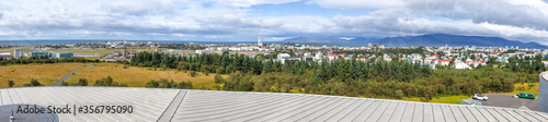 Tablou Canvas Panoramic aerial view of Reykjavik from a city rooftop in summer season
