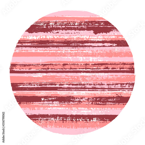 Photo Rough circle vector geometric shape with striped texture of ink horizontal lines