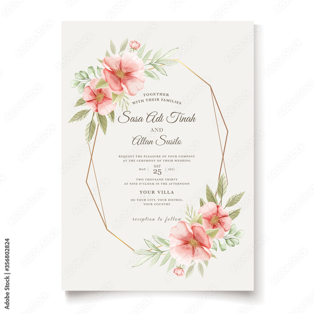 Fototapeta beautiful wedding invitation card with floral wreath