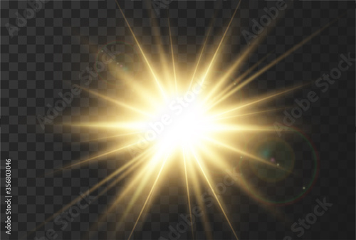 Photo Sun rays effect, very realistic glow of sunlight with glare and rays of the sun