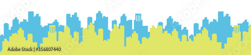 Obraz 新緑の街並みのイラスト - fototapety do salonu