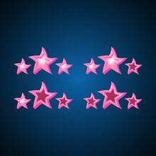Wrinkle Pink Stars Icon On Blue Background For Elements 2d Games Vector Illustration