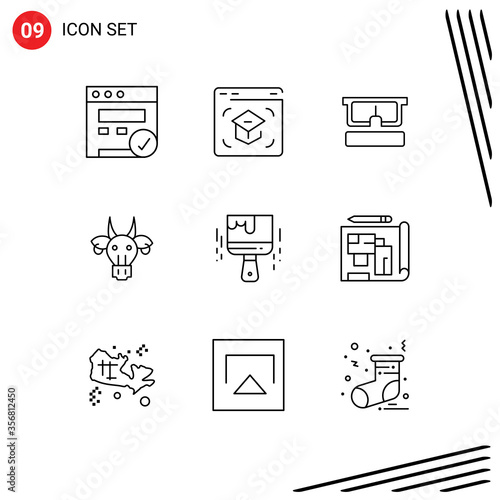 Photo Group of 9 Modern Outlines Set for paint brush, indian, virtual, bull, adornment