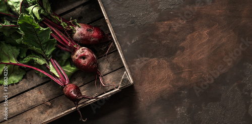 Obraz Beetroot in wooden box on dark background. Fresh vegetables, healthy organic food, harvest, agriculture, top view - fototapety do salonu