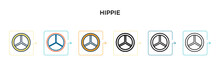 Hippie Vector Icon In 6 Different Modern Styles. Black, Two Colored Hippie Icons Designed In Filled, Outline, Line And Stroke Style. Vector Illustration Can Be Used For Web, Mobile, Ui