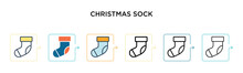 Christmas Sock Vector Icon In ...