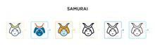 Samurai Vector Icon In 6 Diffe...