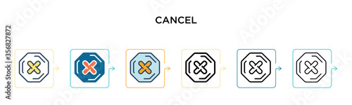 Fotomural Cancel vector icon in 6 different modern styles