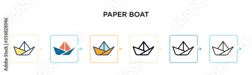 Paper boat vector icon in 6 different modern styles Canvas