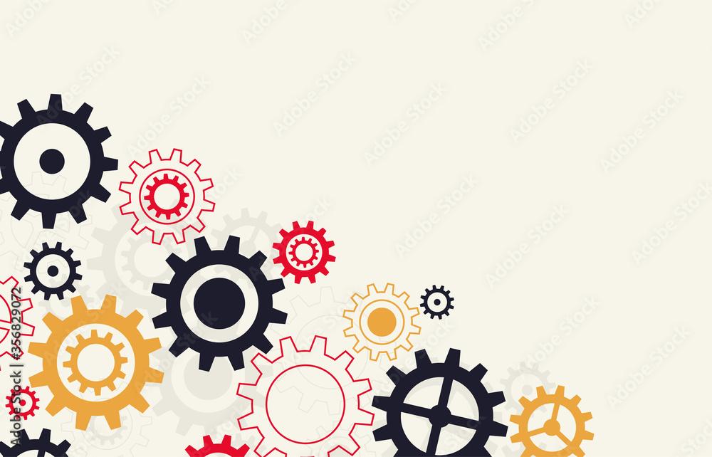Fototapeta Gears wheels over white background. teamwork creative concept. colorful design. Vector illustration