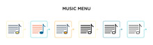 Music Menu Vector Icon In 6 Di...