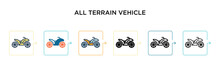 All Terrain Vehicle Vector Icon In 6 Different Modern Styles. Black, Two Colored All Terrain Vehicle Icons Designed In Filled, Outline, Line And Stroke Style. Vector Illustration Can Be Used For Web,