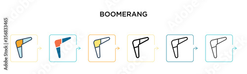 Fotografía Boomerang vector icon in 6 different modern styles