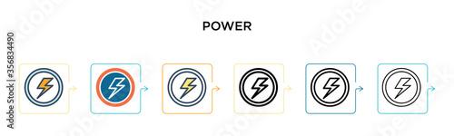 Fototapeta Power vector icon in 6 different modern styles