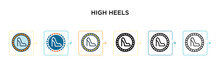 High Heels Vector Icon In 6 Di...