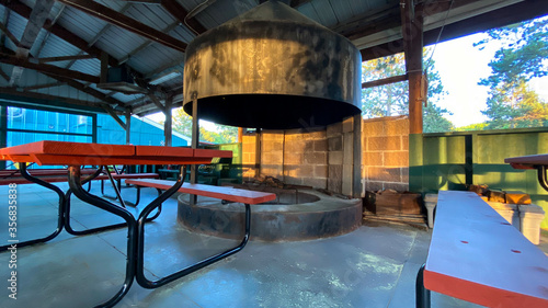 RV camp amenities pavilion fire pit Canvas Print