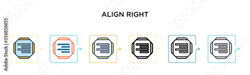 Align right vector icon in 6 different modern styles Wallpaper Mural