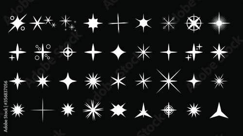 Fototapeta Set White Collection Star Icons Sparkles Vector Symbols Shine Elements obraz na płótnie