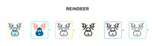 Reindeer Vector Icon In 6 Diff...